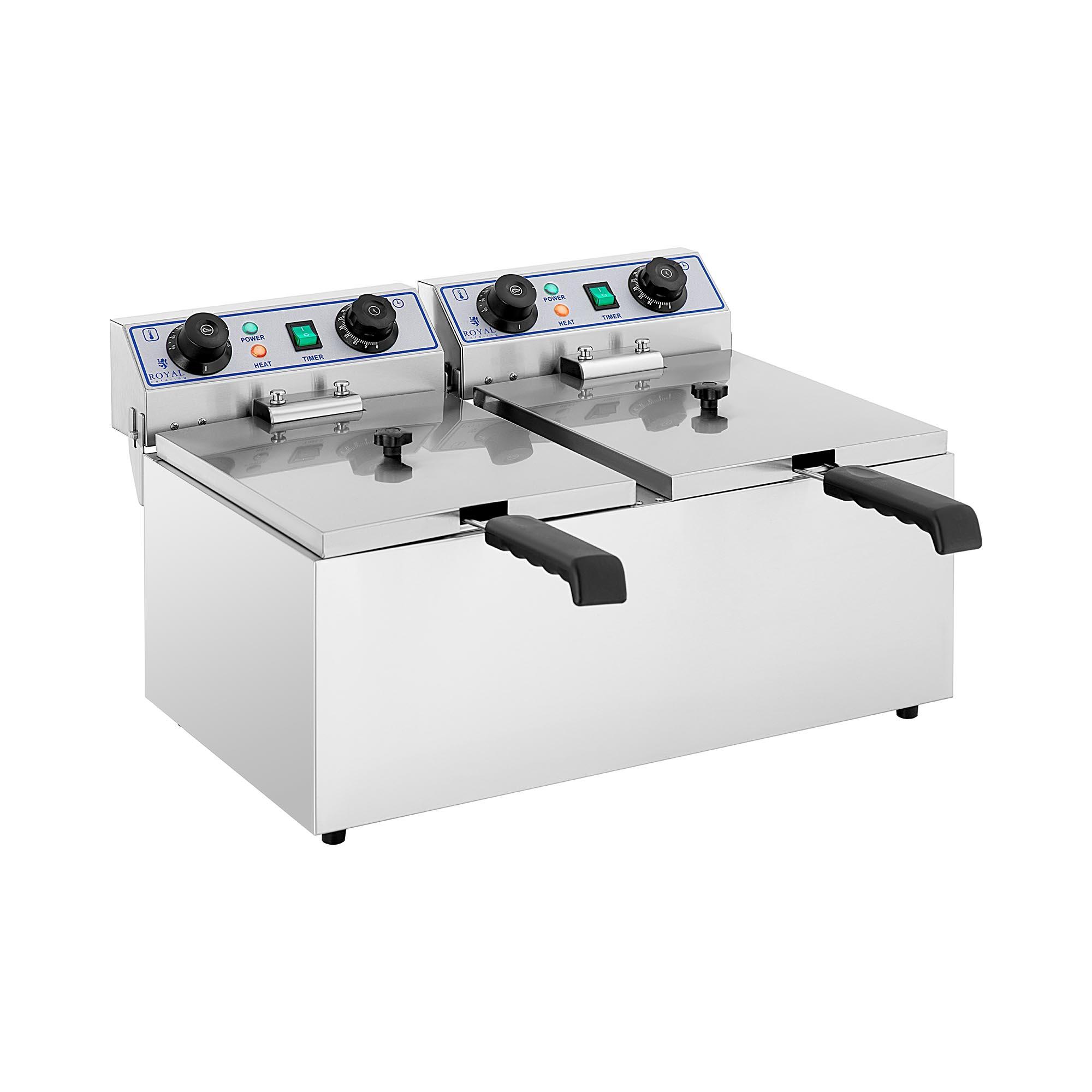 Royal Catering Elektro Doppel Fritteuse - 2 x 13 Liter mit Timerfunktion (60 Min) RCTF 13DH   2X13 TIMERFRITEUSE / FR