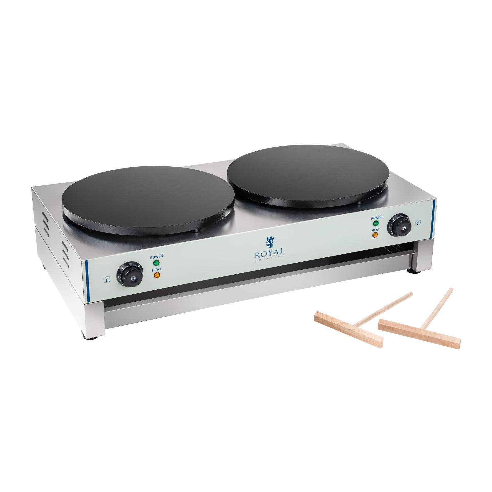 Royal Catering Crepes-Maker - 2 Heizplatten - 40 cm - 2 x 3.000 Watt RCEC-6000-E