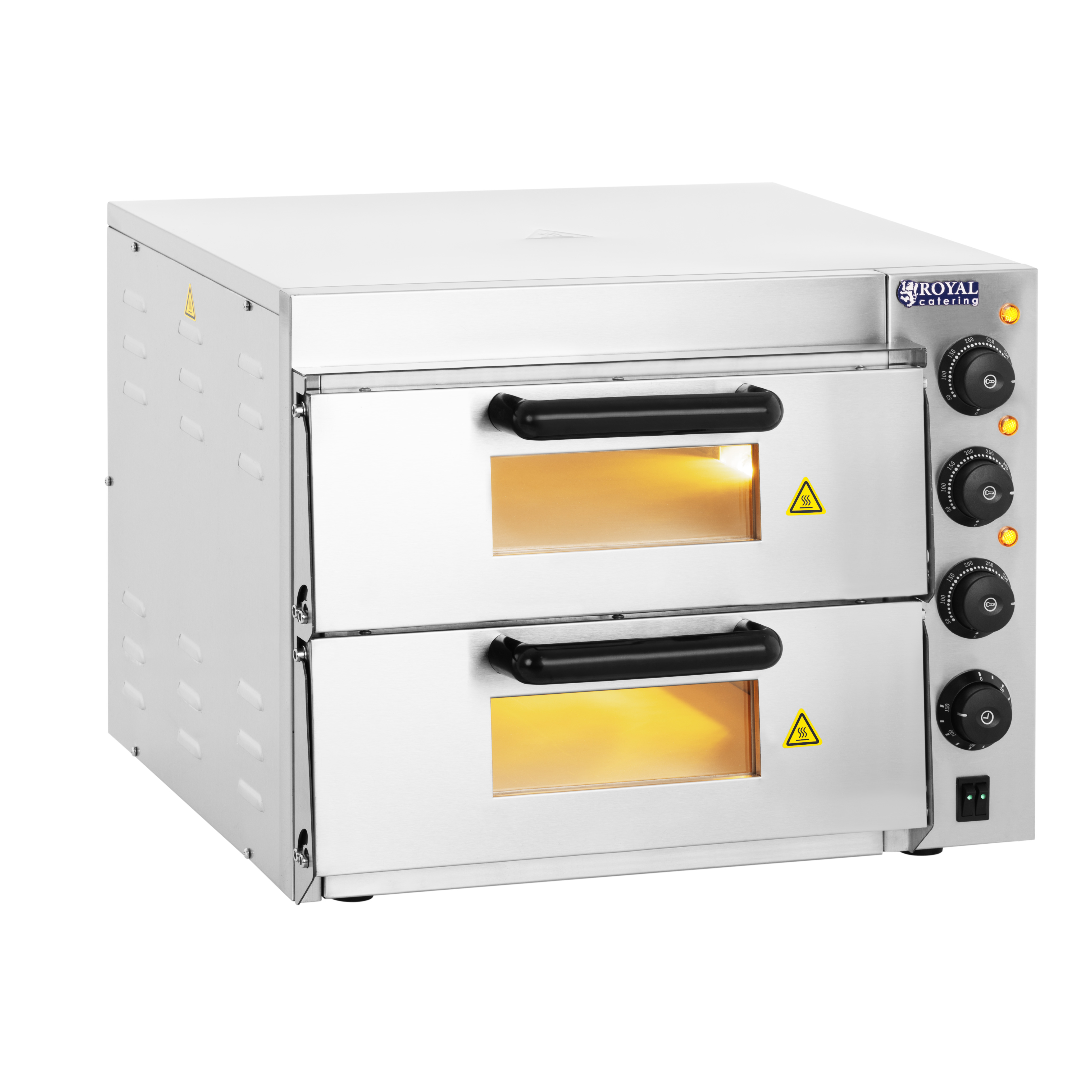 Royal Catering Pizzaofen - 2 Kammern - Schamotteboden RCPO-3000-2PS-1