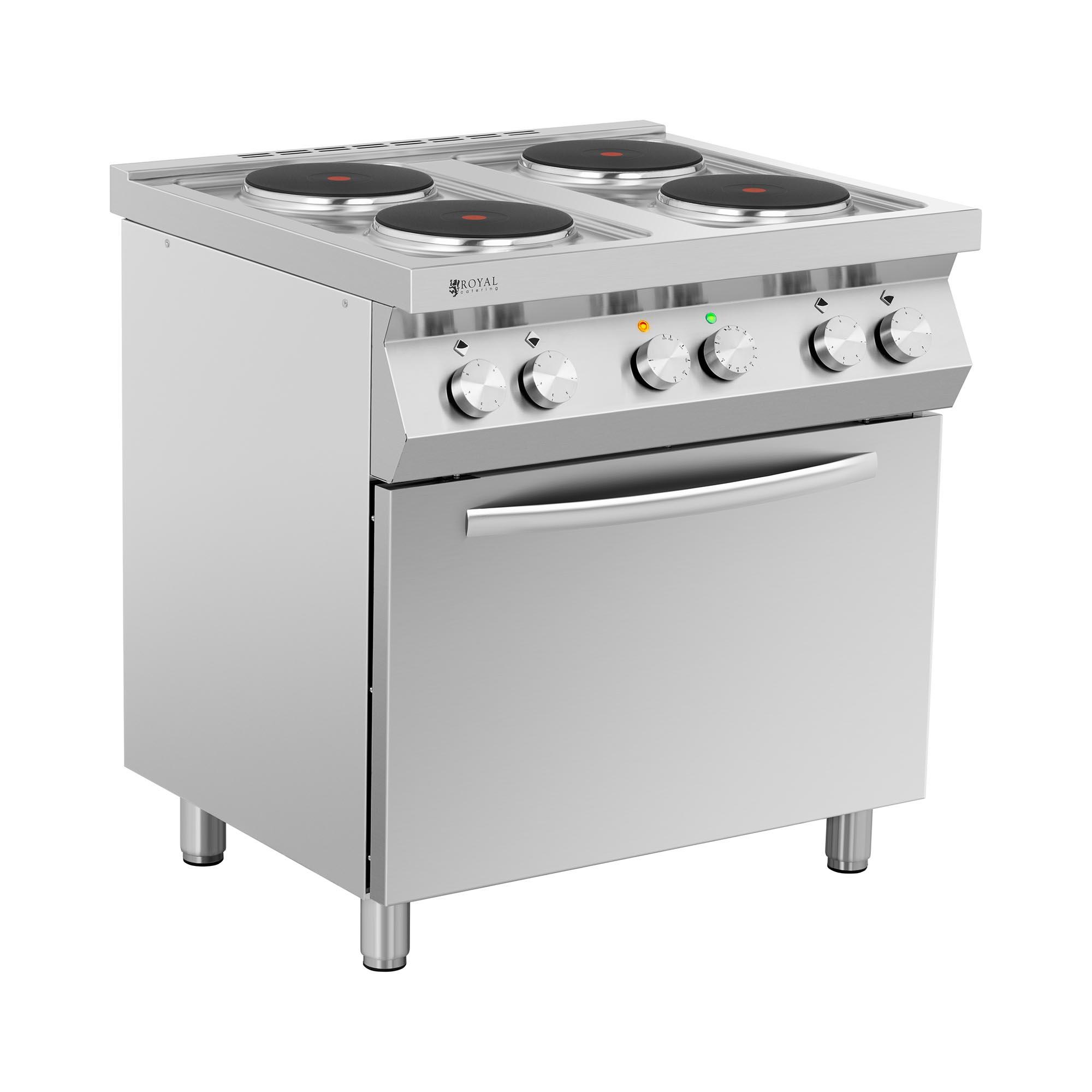 Royal Catering Elektroherd Gastro - 13.400 W - 4 Platten - mit Umluftofen RC-EC4VO