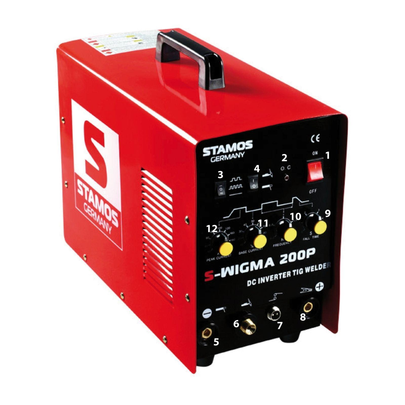 Stamos Basic WIG Schweißgerät - 200 A - 230 V - Puls S-WIGMA 200P / SPAWARKA TIG 200 Z P
