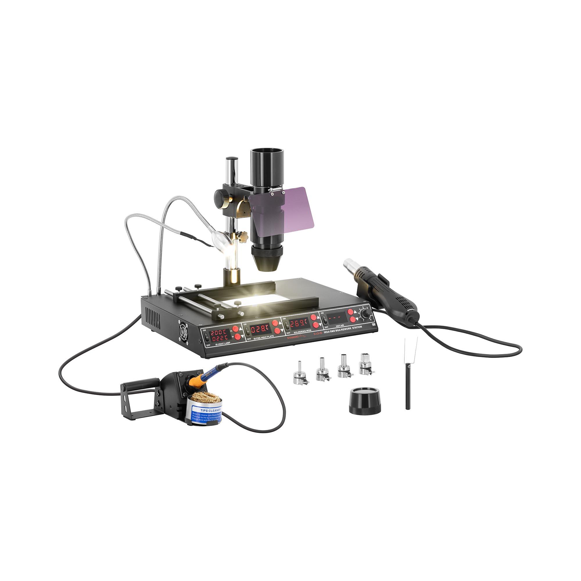 Stamos Soldering Lötstation mit Vorwärmplatte und Infrarotlampe - 1450W - 4 x LED - Basic Lötstation S-LS-15 Basic