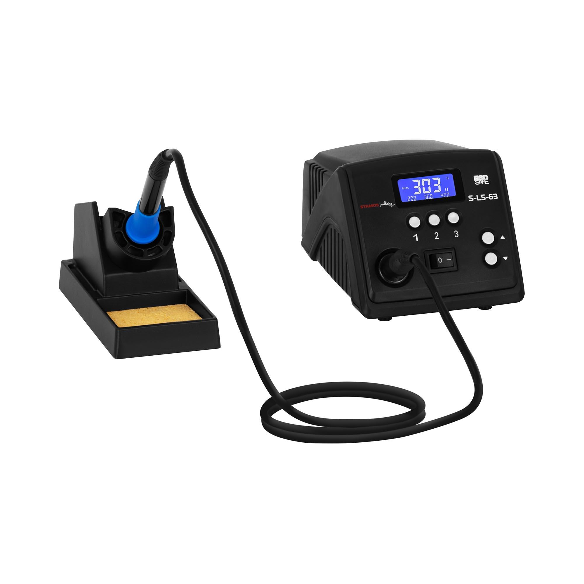 Stamos Soldering Lötstation - digital - mit Lötkolben und Lötkolbenablage - 100 W - LCD S-LS-63