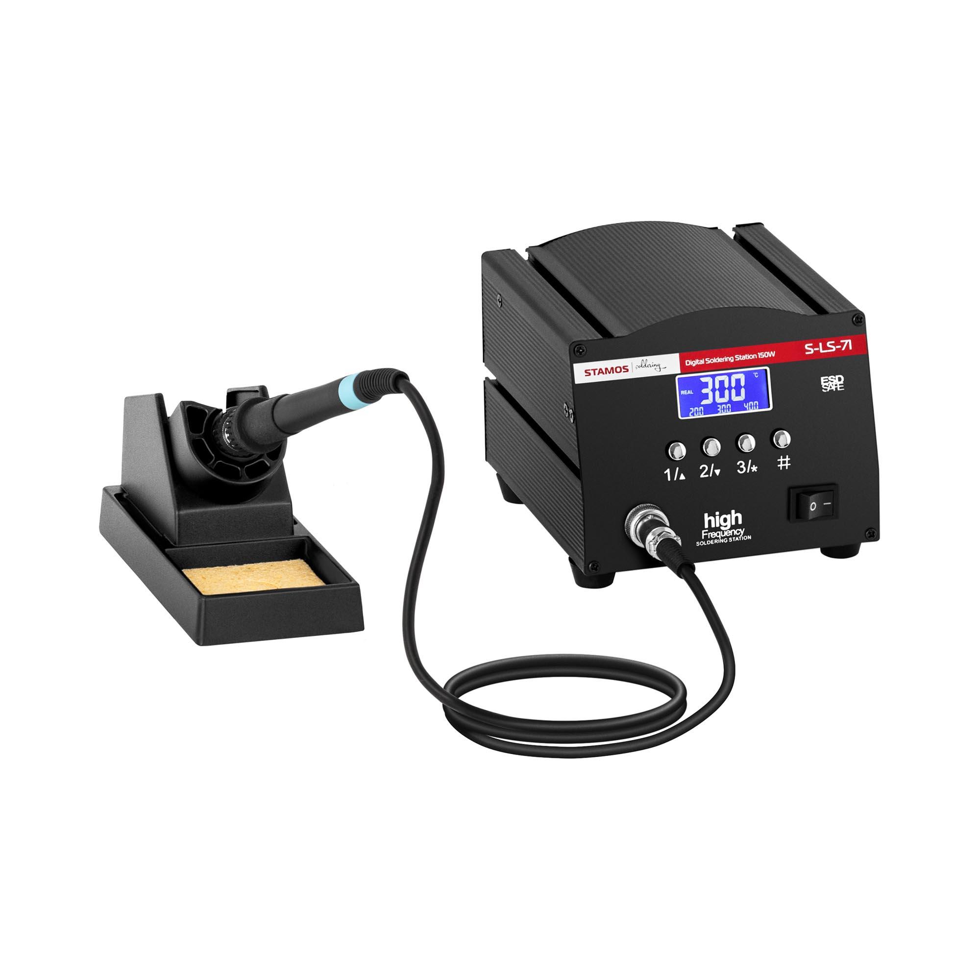 Stamos Soldering Lötstation - digital - mit Lötkolben und Lötkolbenablage - 150 W - LCD S-LS-71