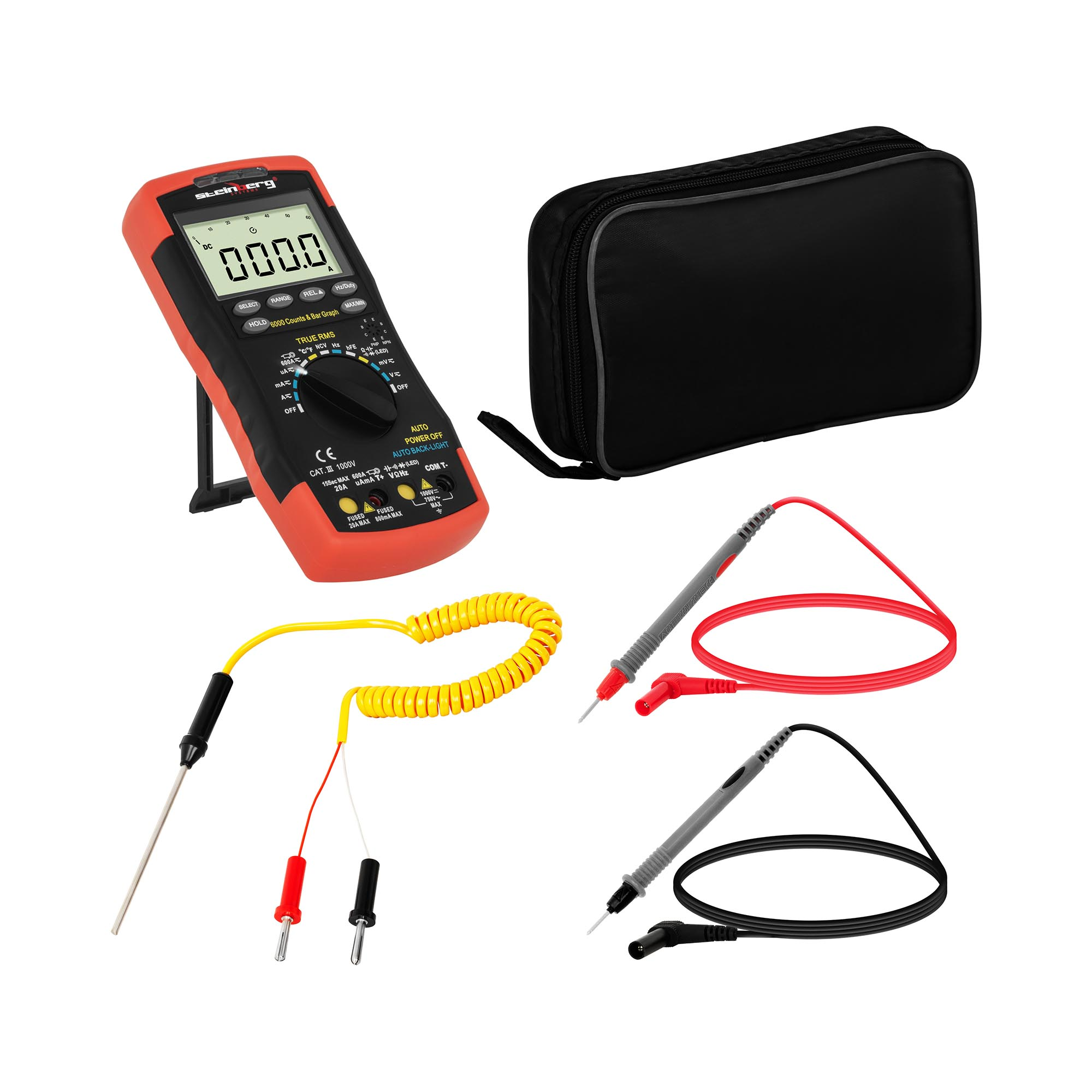 Steinberg Systems Multimeter - 6.000 Counts - hFE-Transitortest - NCV - Temperaturmessung - TrueRMS - Balkendiagramm SBS-DM-1000TR