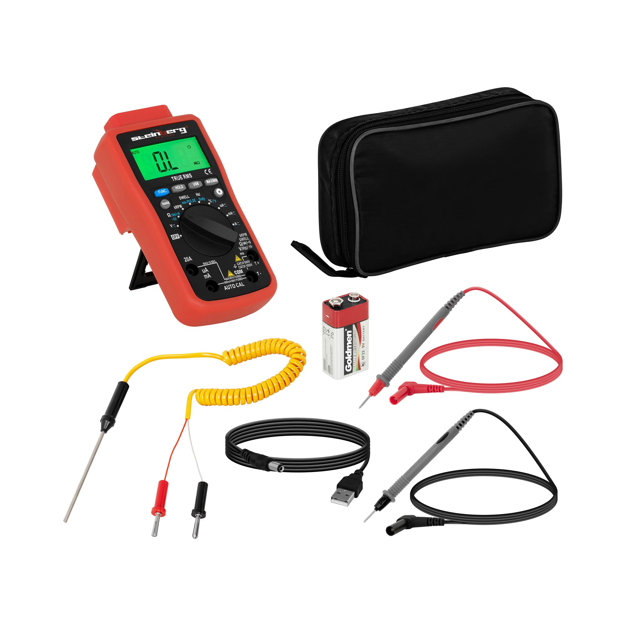 Steinberg Systems Multimeter - 6.000 Counts - Temperaturmessung - TrueRMS - USB SBS-DMB-1000TR