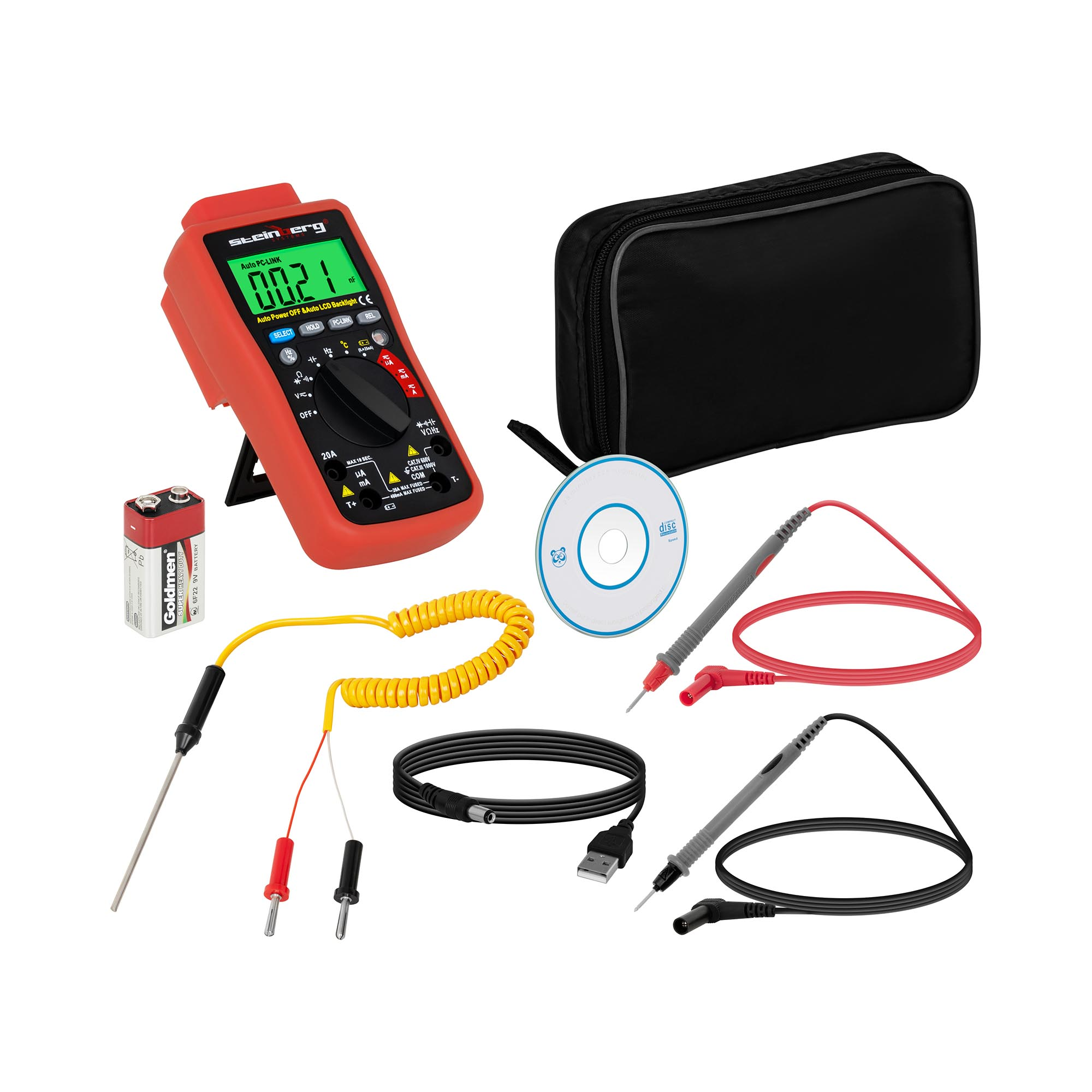 Steinberg Systems Multimeter - 4.000 Counts - Temperaturmessung - USB SBS-DM-1000USB