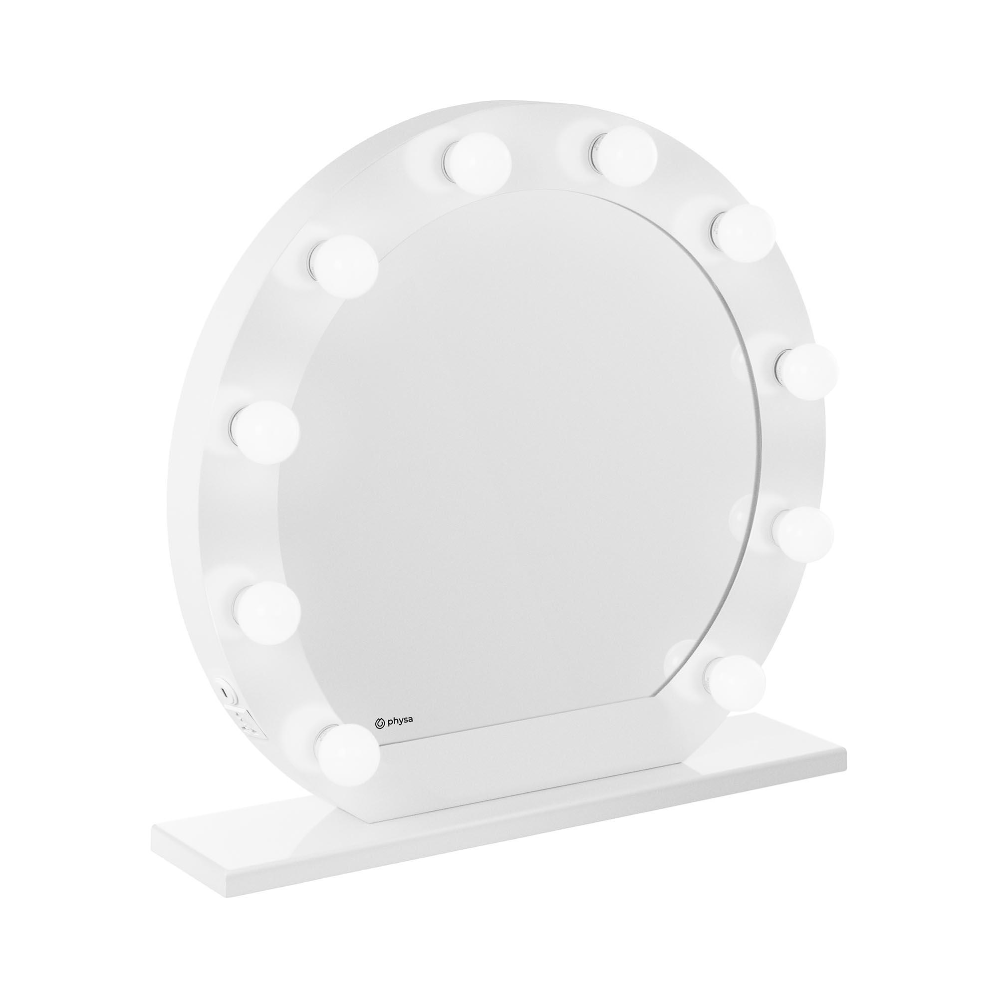 physa Hollywood-Spiegel - weiß - 10 LEDs - rund PHY-CM-12 WHITE