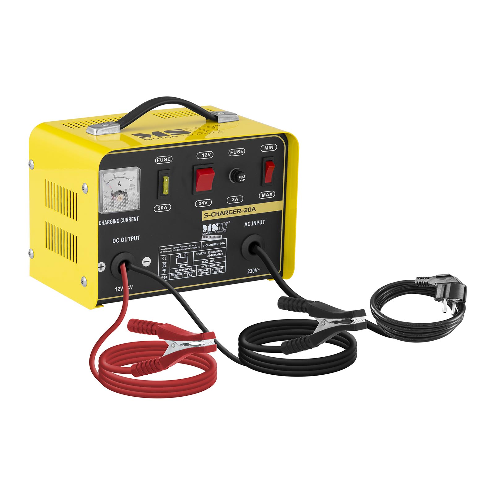 MSW Autobatterie-Ladegerät - 12/24 V - 8/12 A S-CHARGER-20A