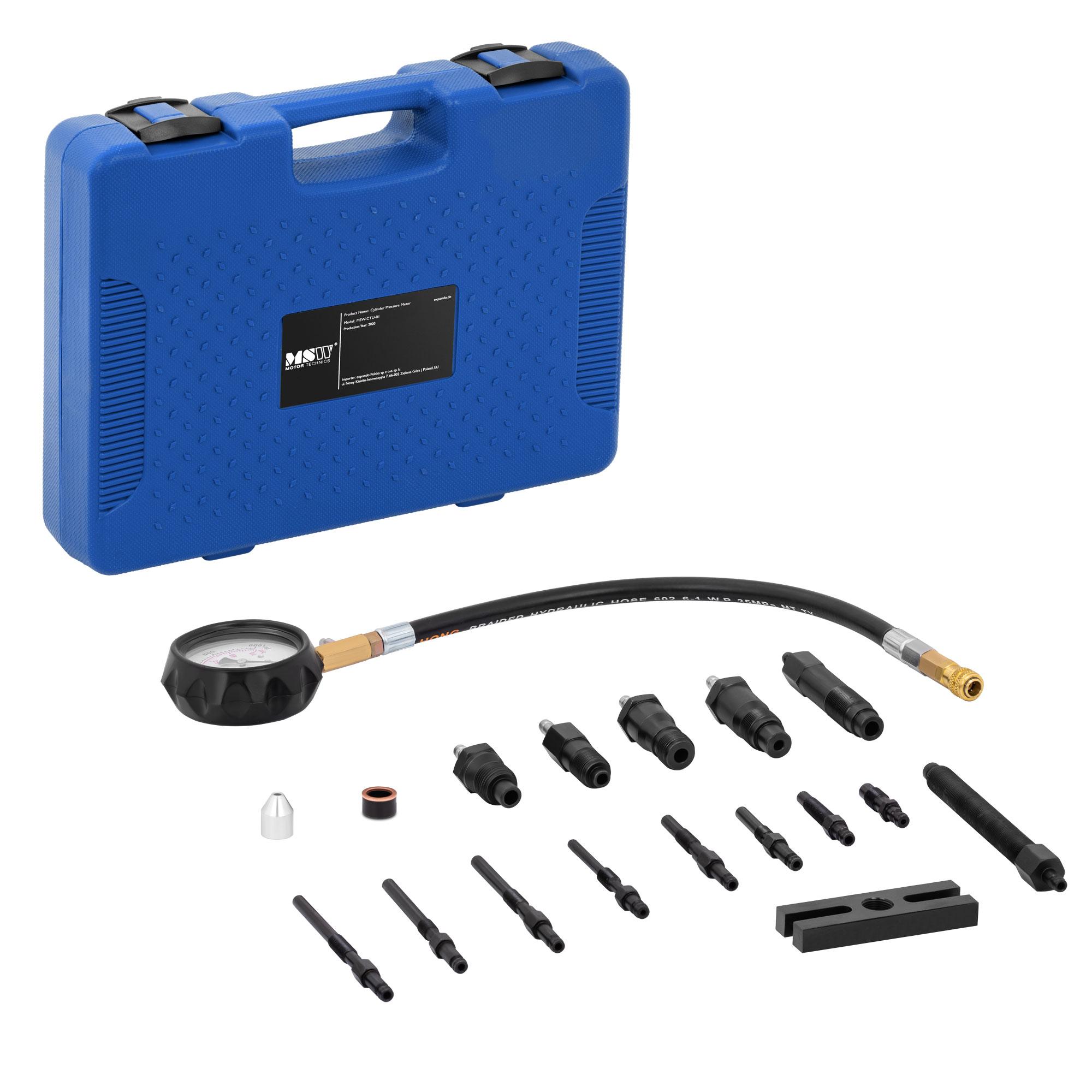 MSW Kompressionsprüfer Diesel - 0-70 bar - 80 mm Manometer - 35 cm Schlauch MSW-CTU-01