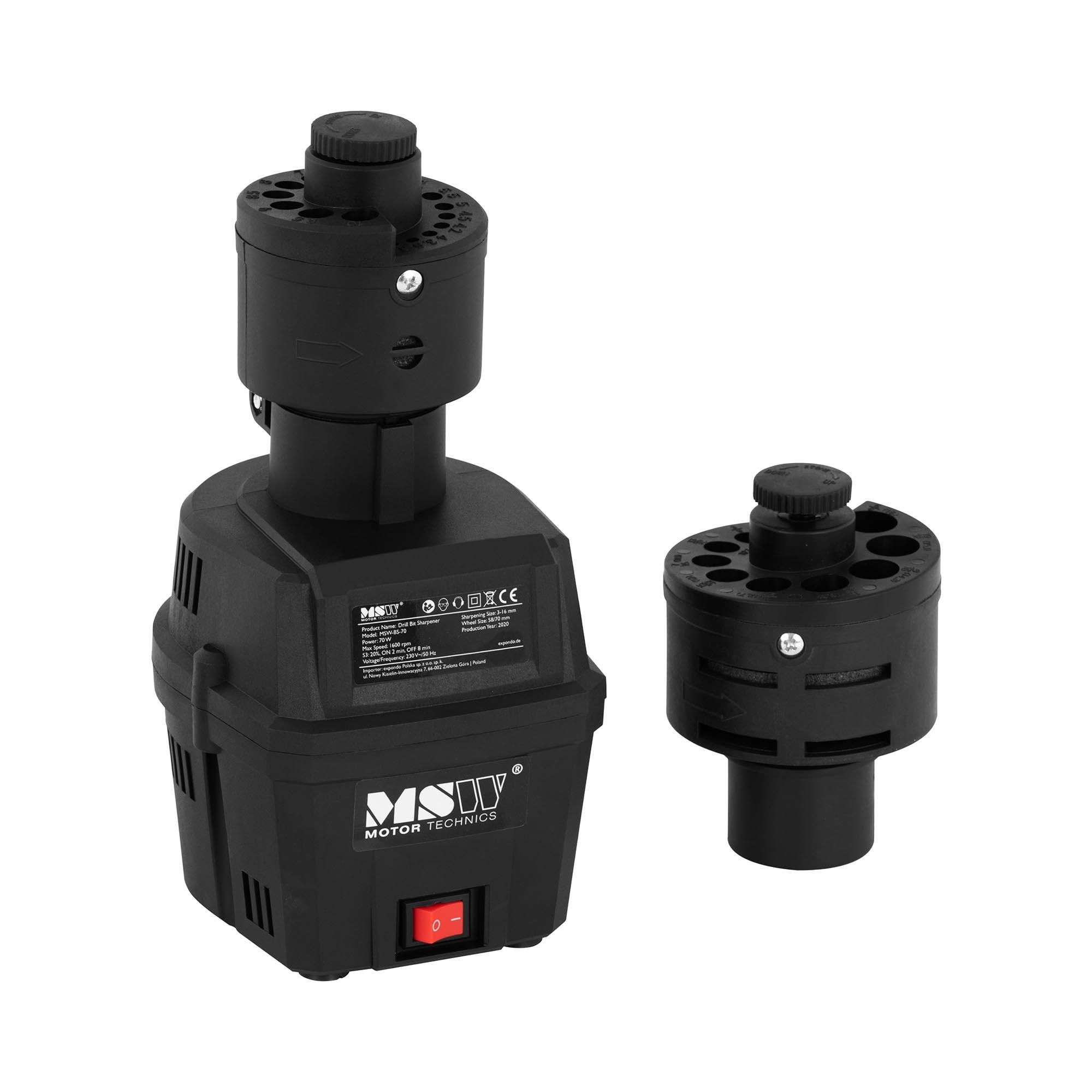 MSW Bohrerschleifgerät - 70 W - 1.600 U/min - Wechselkopf - Schleifbereich 3 bis 16 mm 10061070