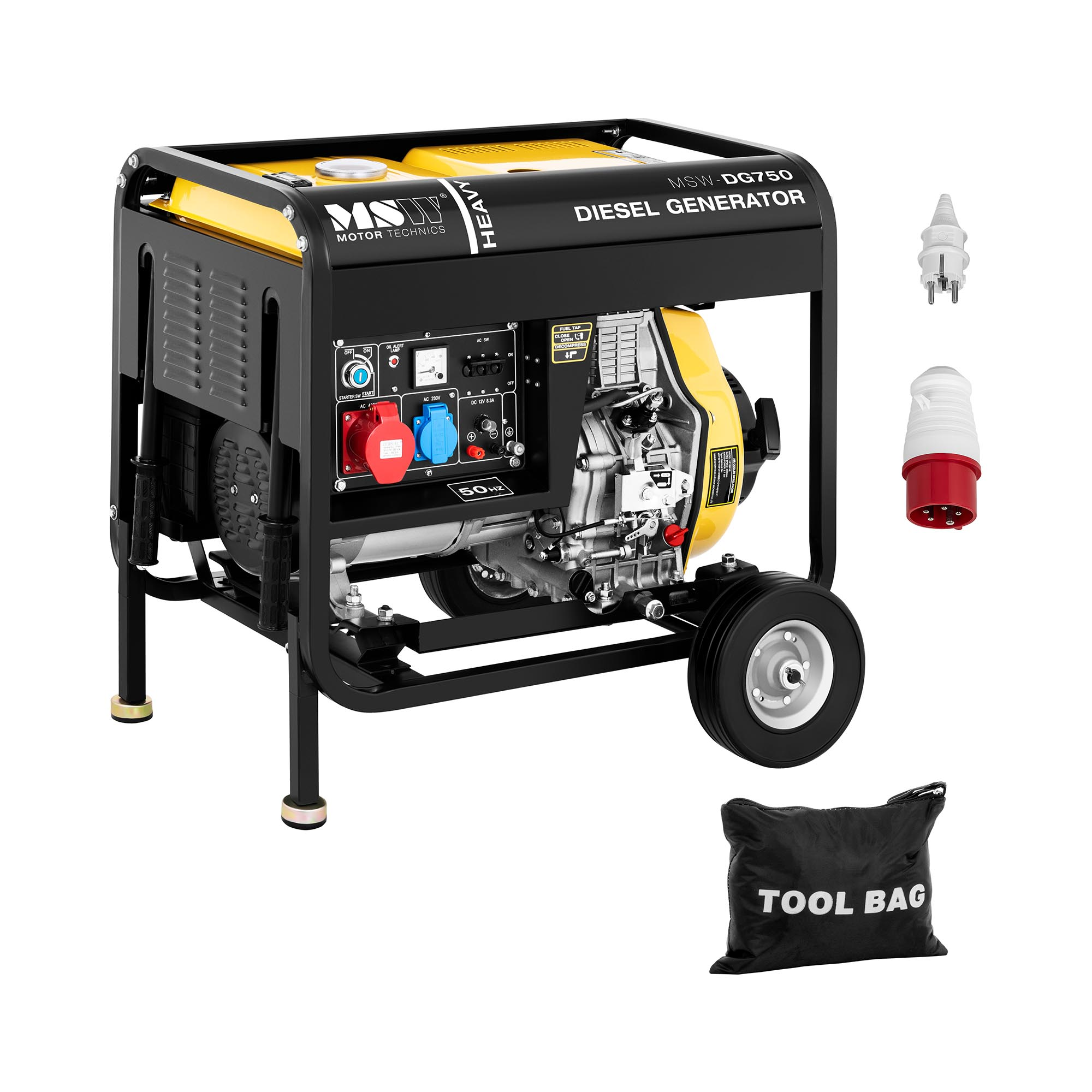 MSW Notstromaggregat Diesel - 4.400 W - 12,5 L - 230/400 V - mobil 10061191