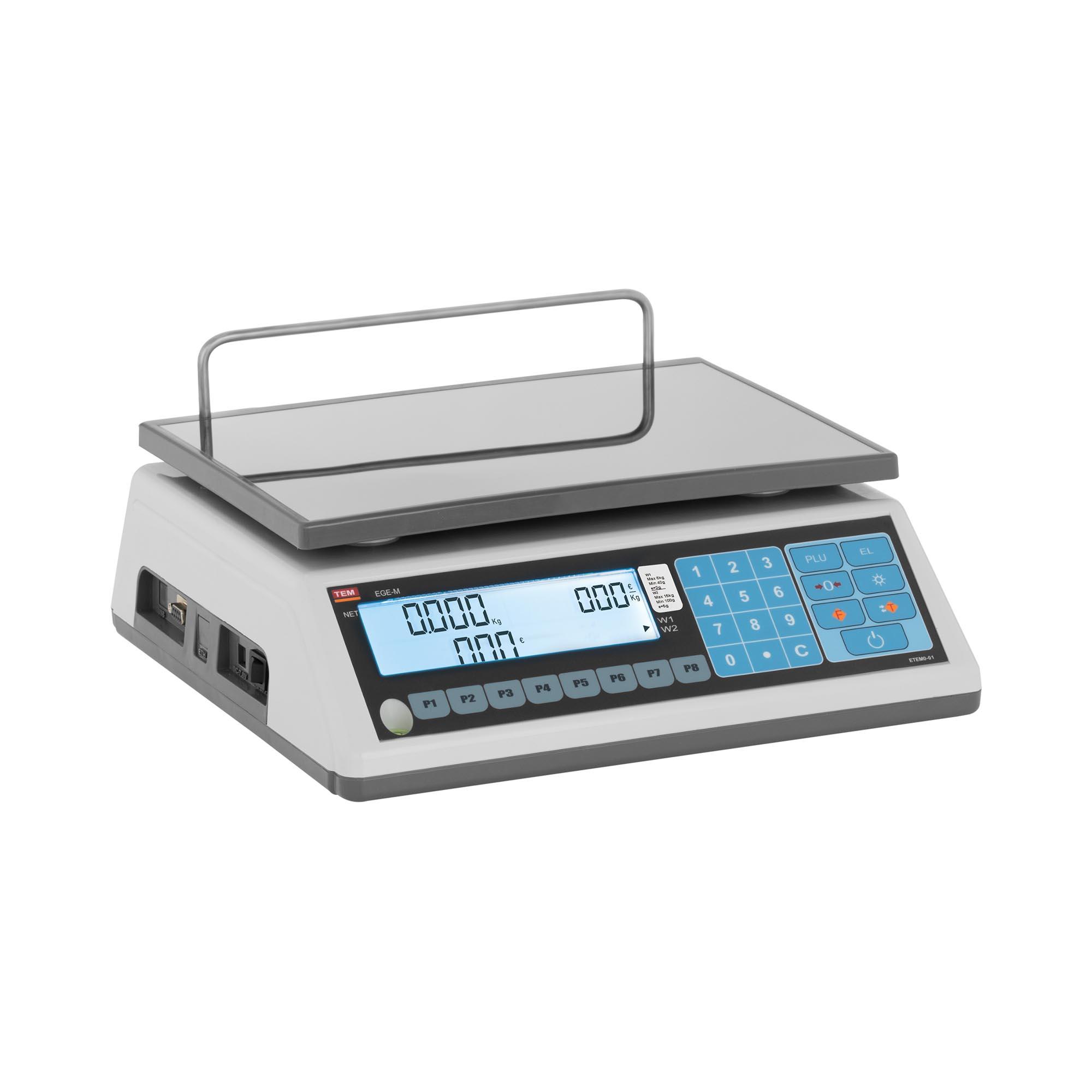 TEM Preisrechenwaage - geeicht - 6 kg/2 g - 15 kg/5 g TEM015D-B1