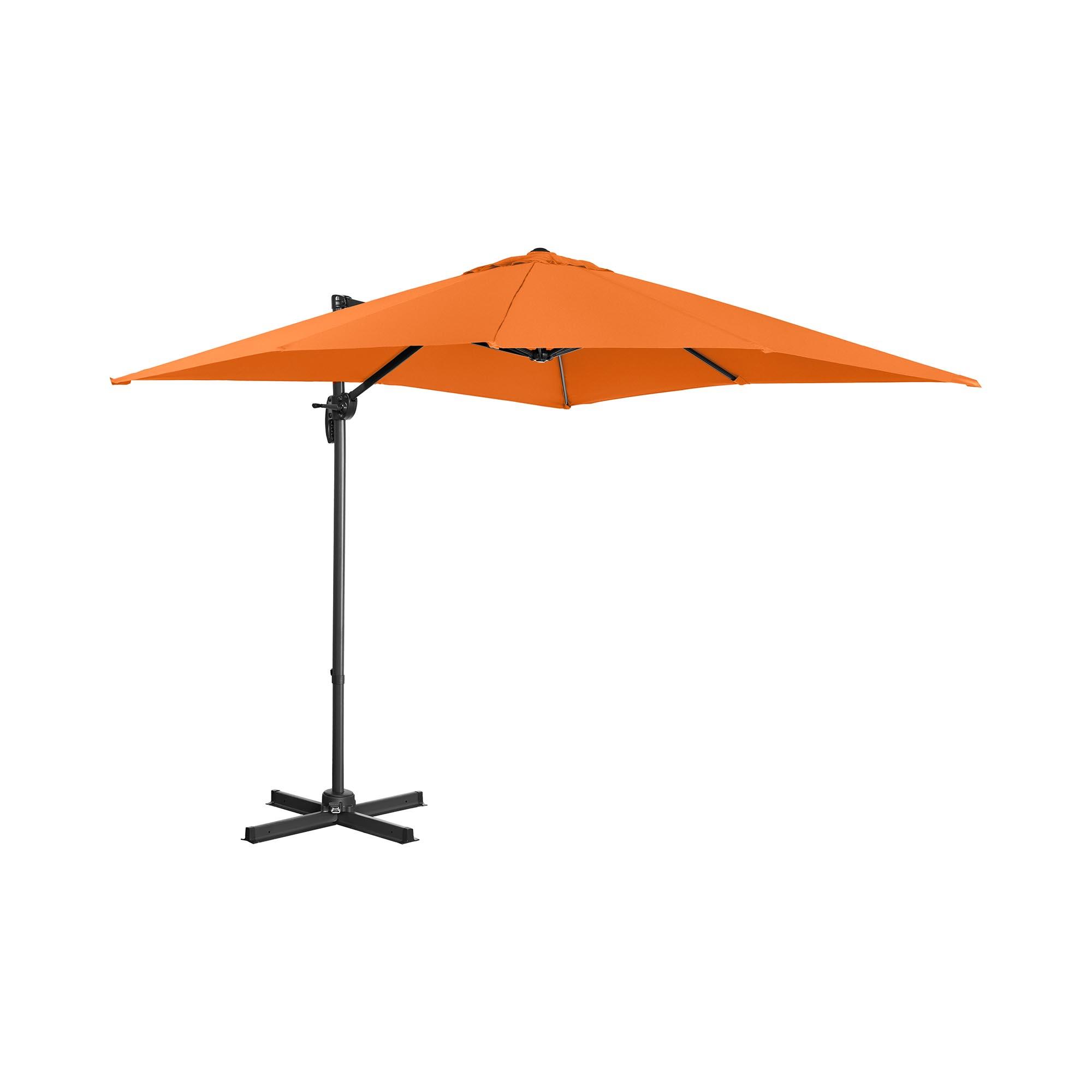 Uniprodo Ampelschirm - orange - viereckig - 250 x 250 cm - drehbar 10250105