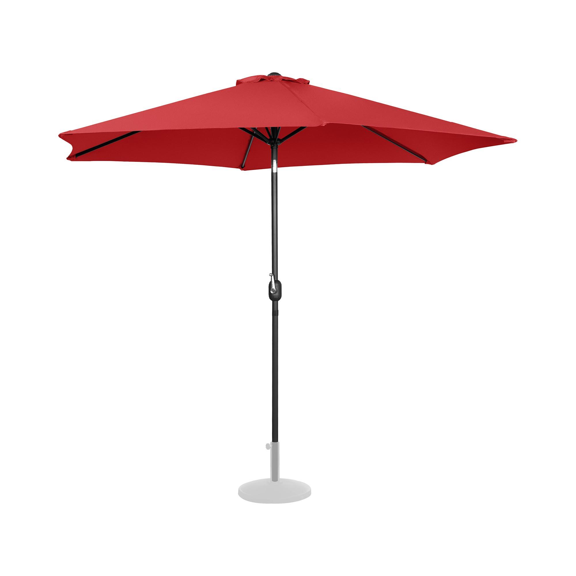 Uniprodo Sonnenschirm groß - rot - sechseckig - Ø 300 cm - neigbar UNI_UMBRELLA_TR300RE