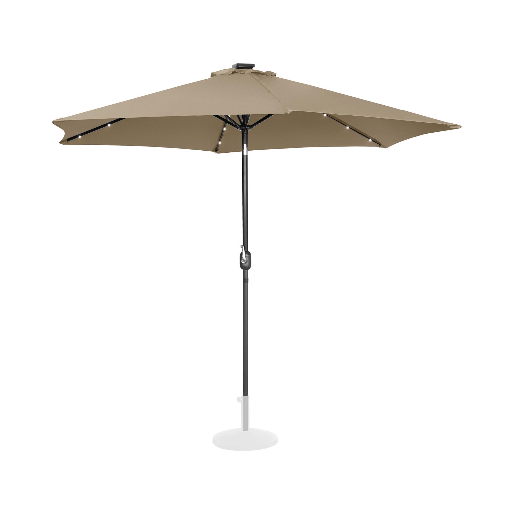 Uniprodo Sonnenschirm mit LED - taupe - rund - Ø 300 cm - neigbar UNI_UMBRELLA_TR300TAL