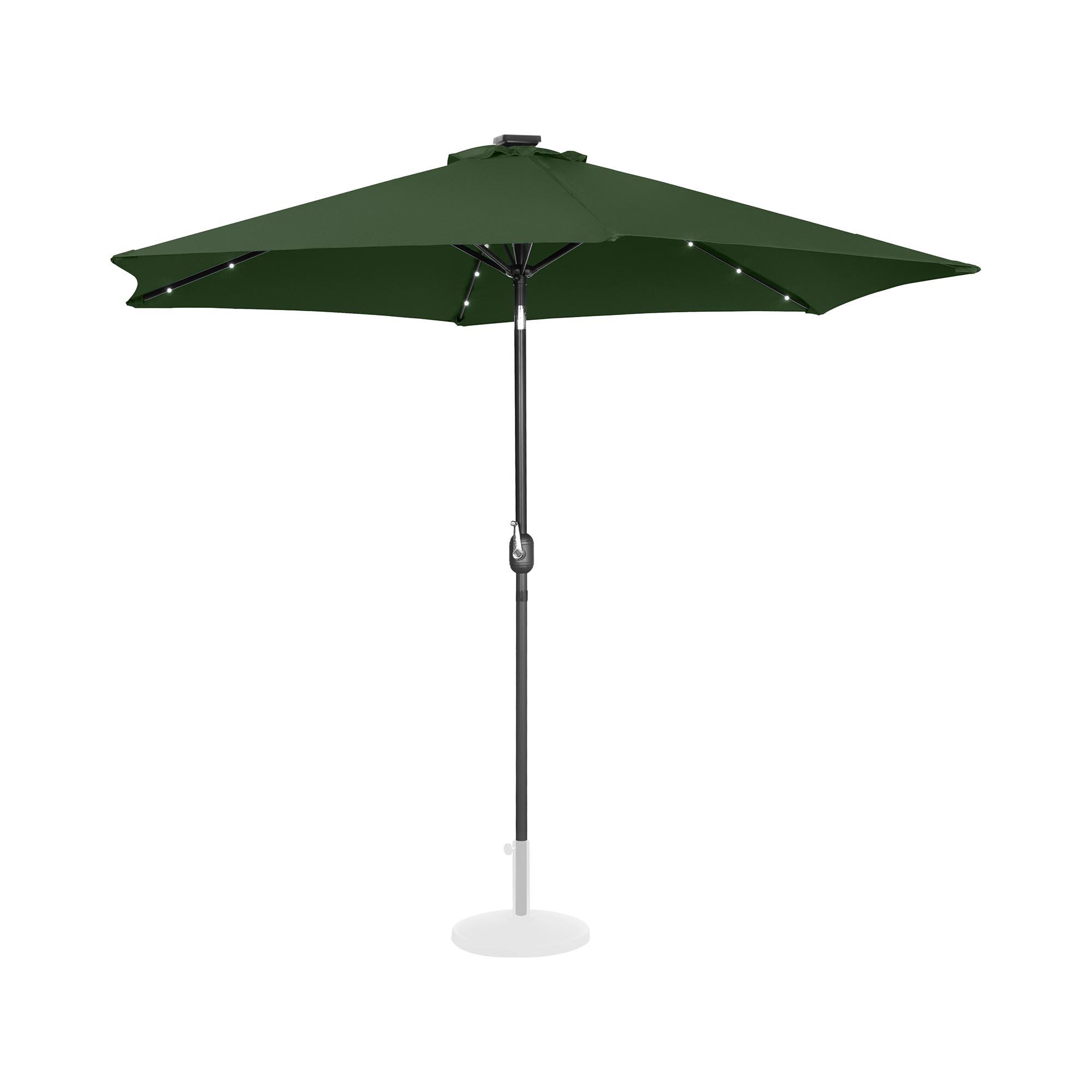 Uniprodo Sonnenschirm mit LED - grün - rund - Ø 300 cm - neigbar UNI_UMBRELLA_TR300GRL