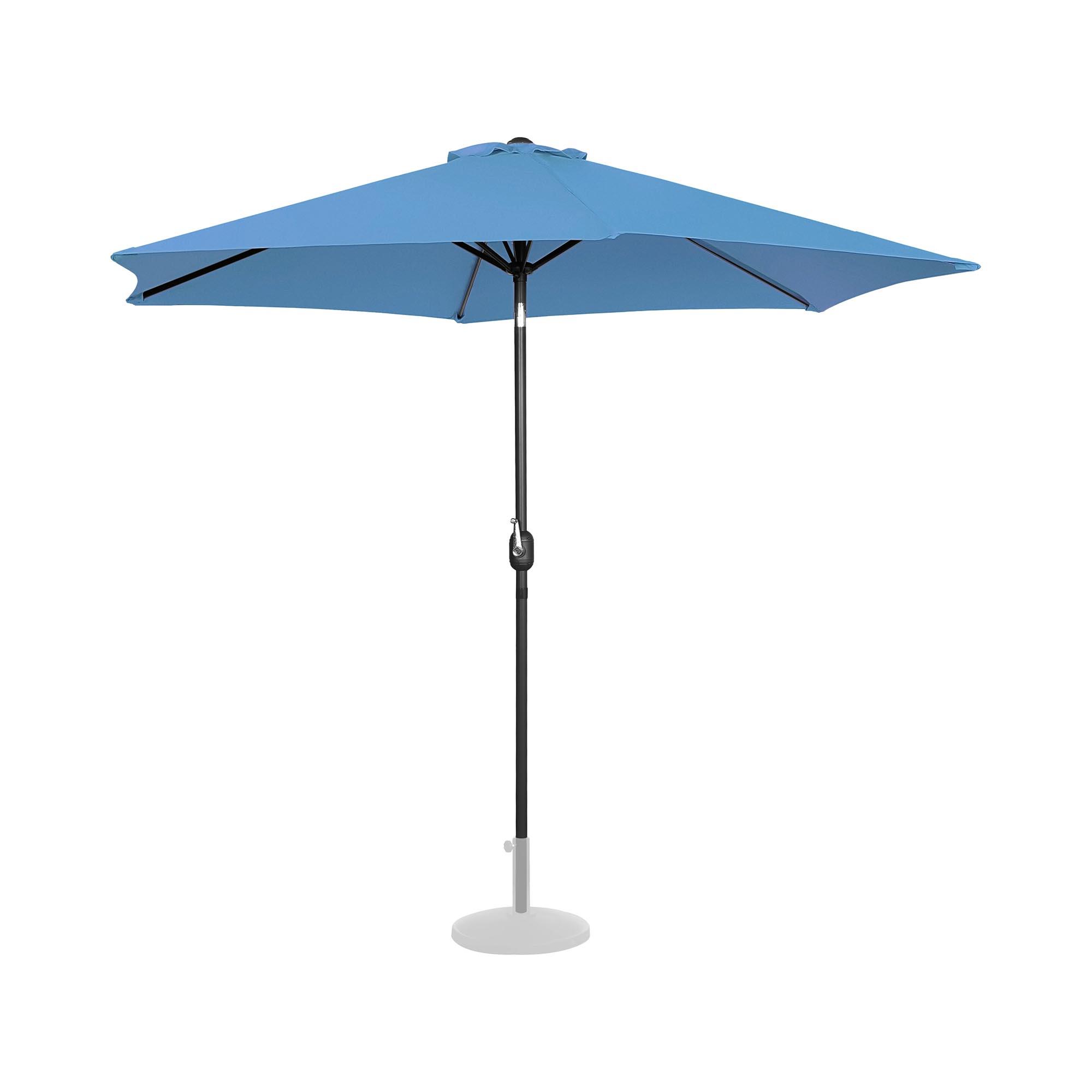 Uniprodo Sonnenschirm groß - blau - sechseckig - Ø 300 cm - neigbar UNI_UMBRELLA_TR300BL