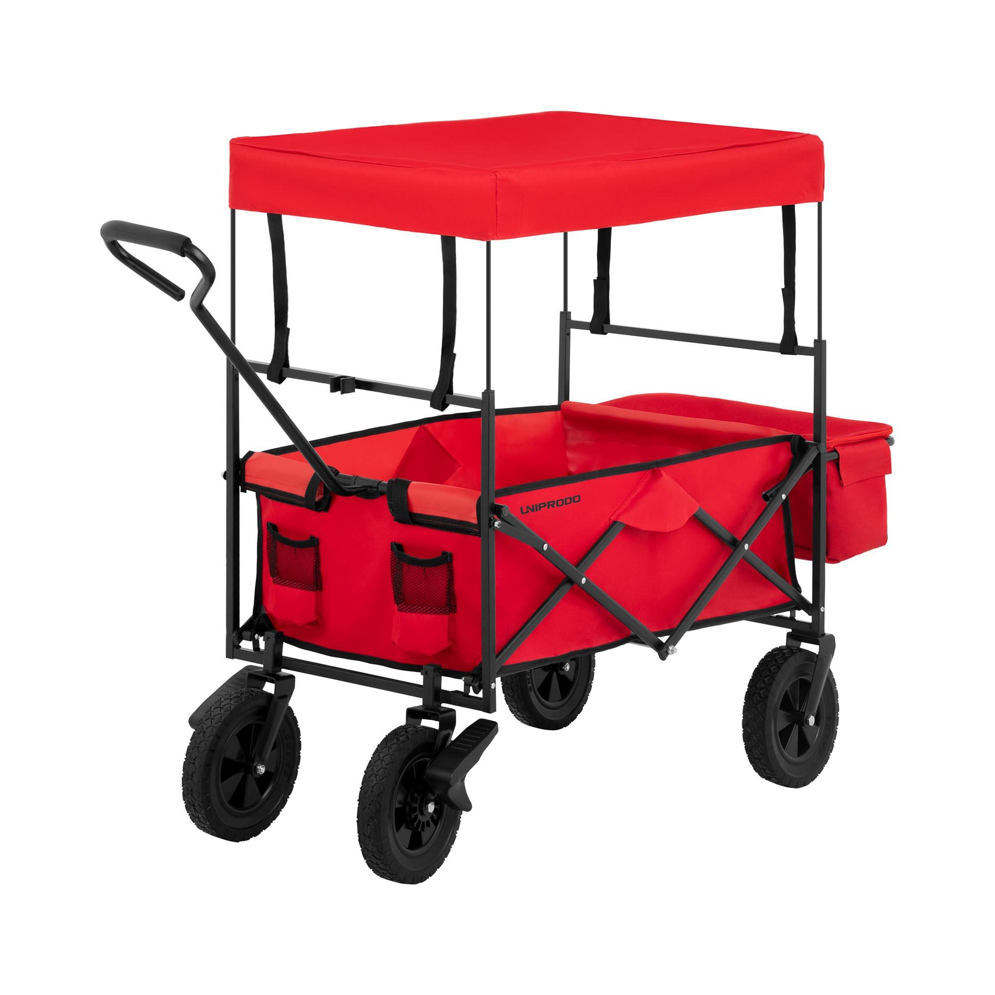 Uniprodo Bollerwagen faltbar mit Dach - Rot - mit Bremsen UNI_CART_03