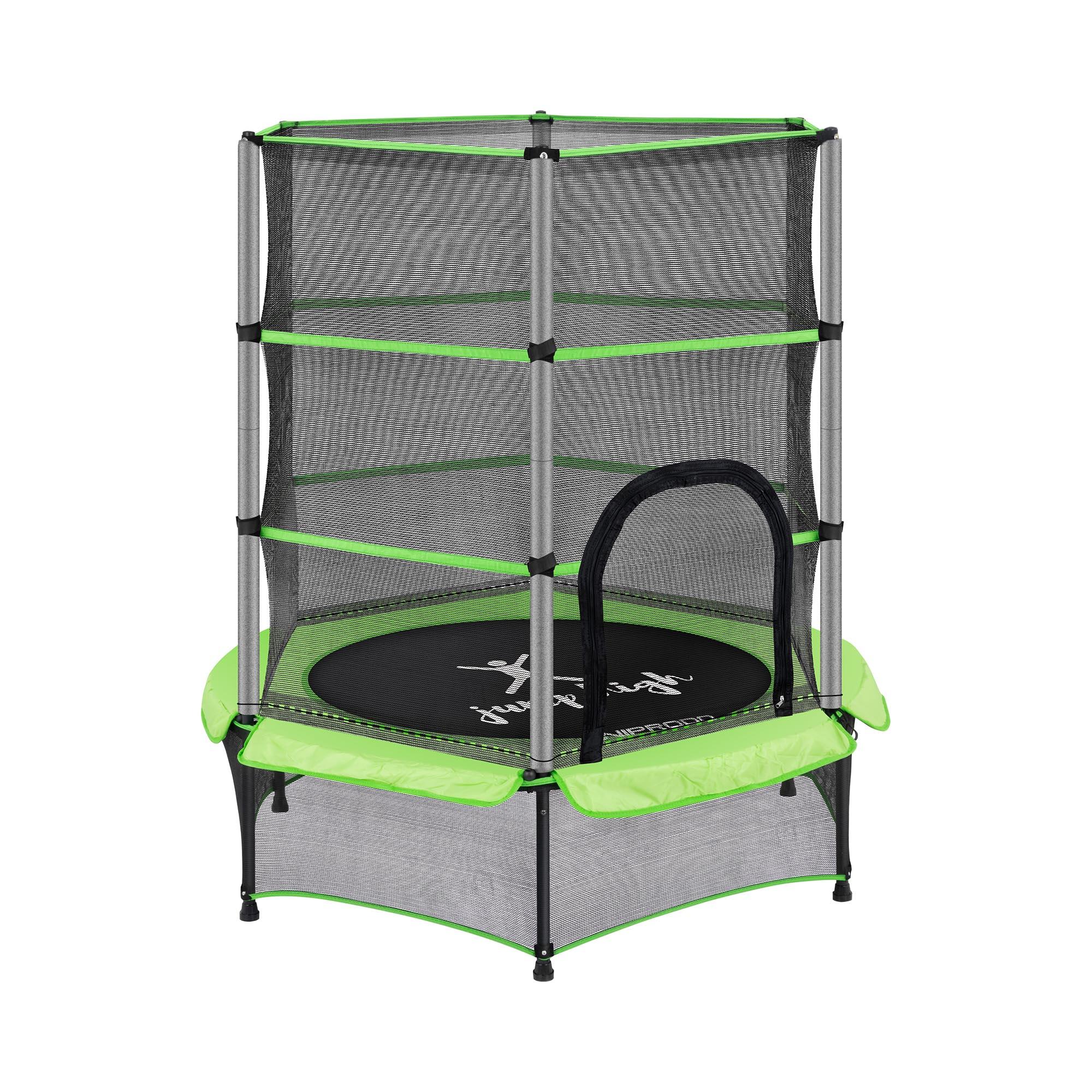 Uniprodo Kindertrampolin - mit Sicherheitsnetz - 140 cm - 50 kg - grün UNI_TRAMPOLINE_01