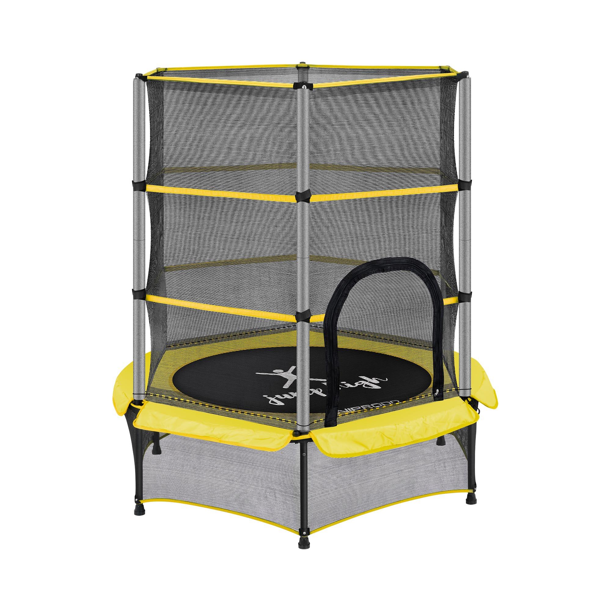 Uniprodo Kindertrampolin - mit Sicherheitsnetz - 140 cm - 50 kg - gelb UNI_TRAMPOLINE_02