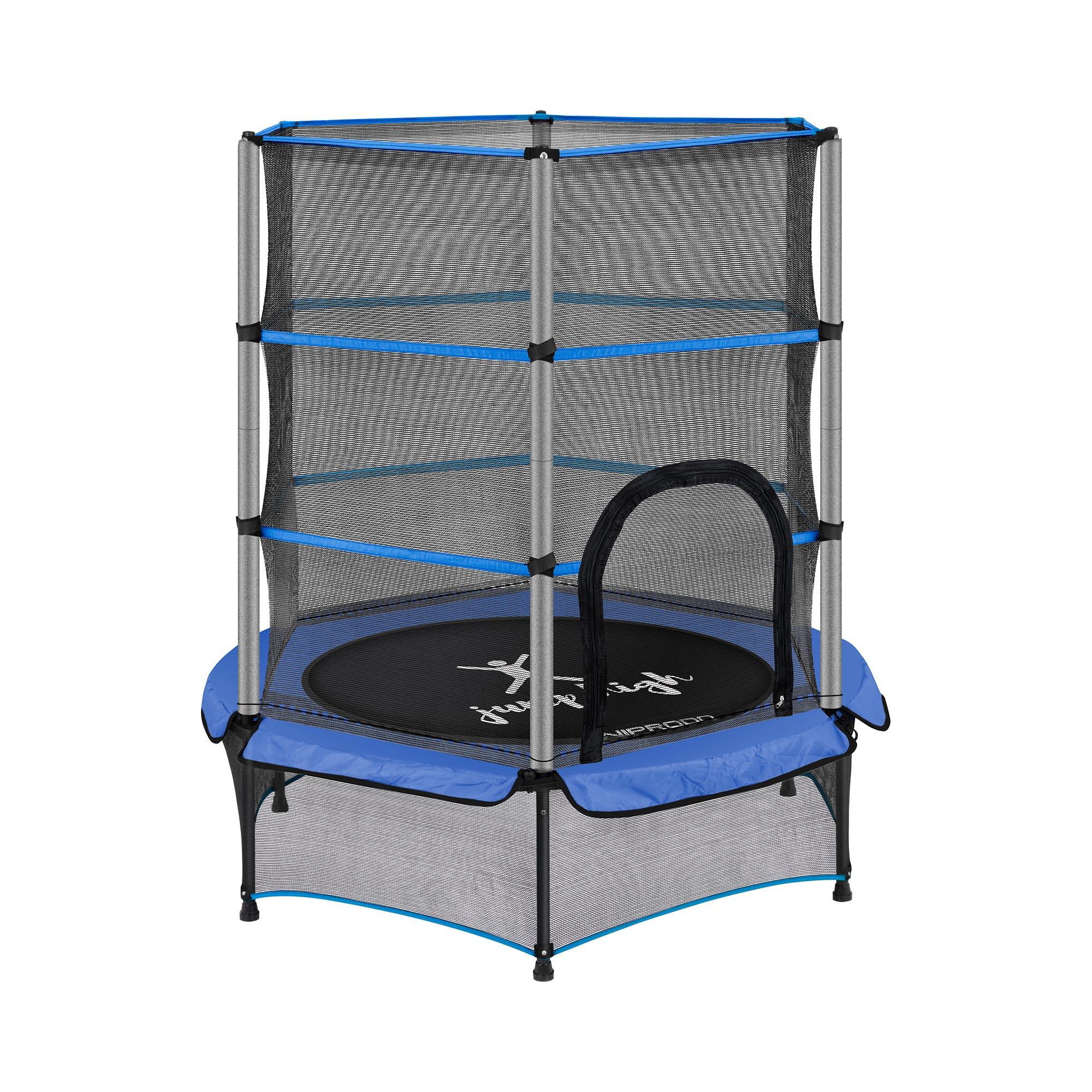Uniprodo Kindertrampolin - mit Sicherheitsnetz - 140 cm - 50 kg - blau UNI_TRAMPOLINE_03