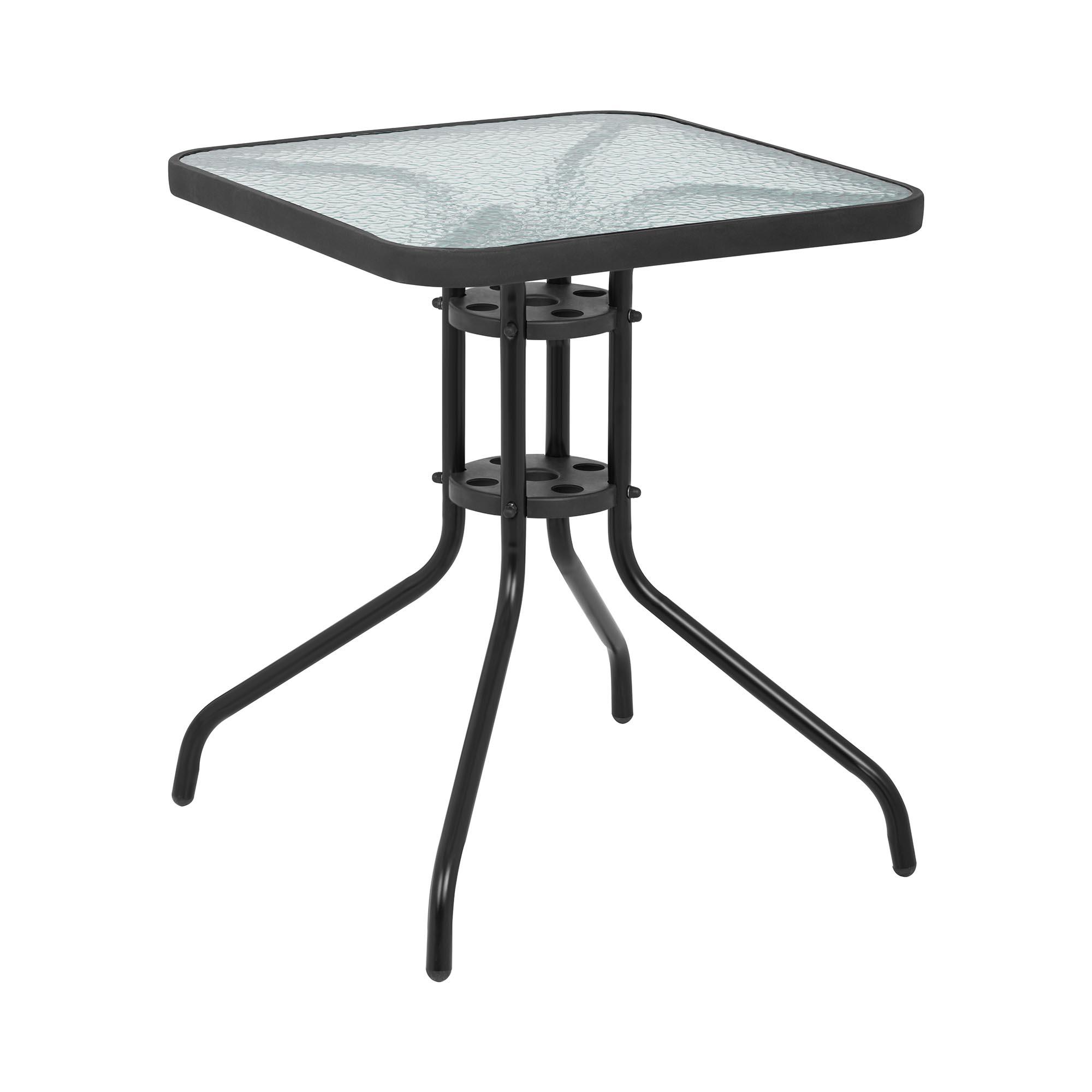 Uniprodo Gartentisch - 60 x 60 cm - Glasplatte - schwarz 10250383