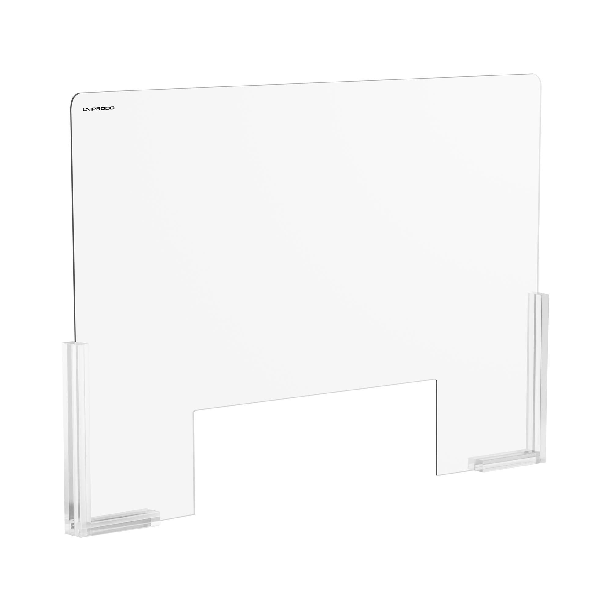 Uniprodo Spuckschutz - 95 x 65 cm - Acrylglas - Durchreiche 38 x 25 cm UNI-PPG03