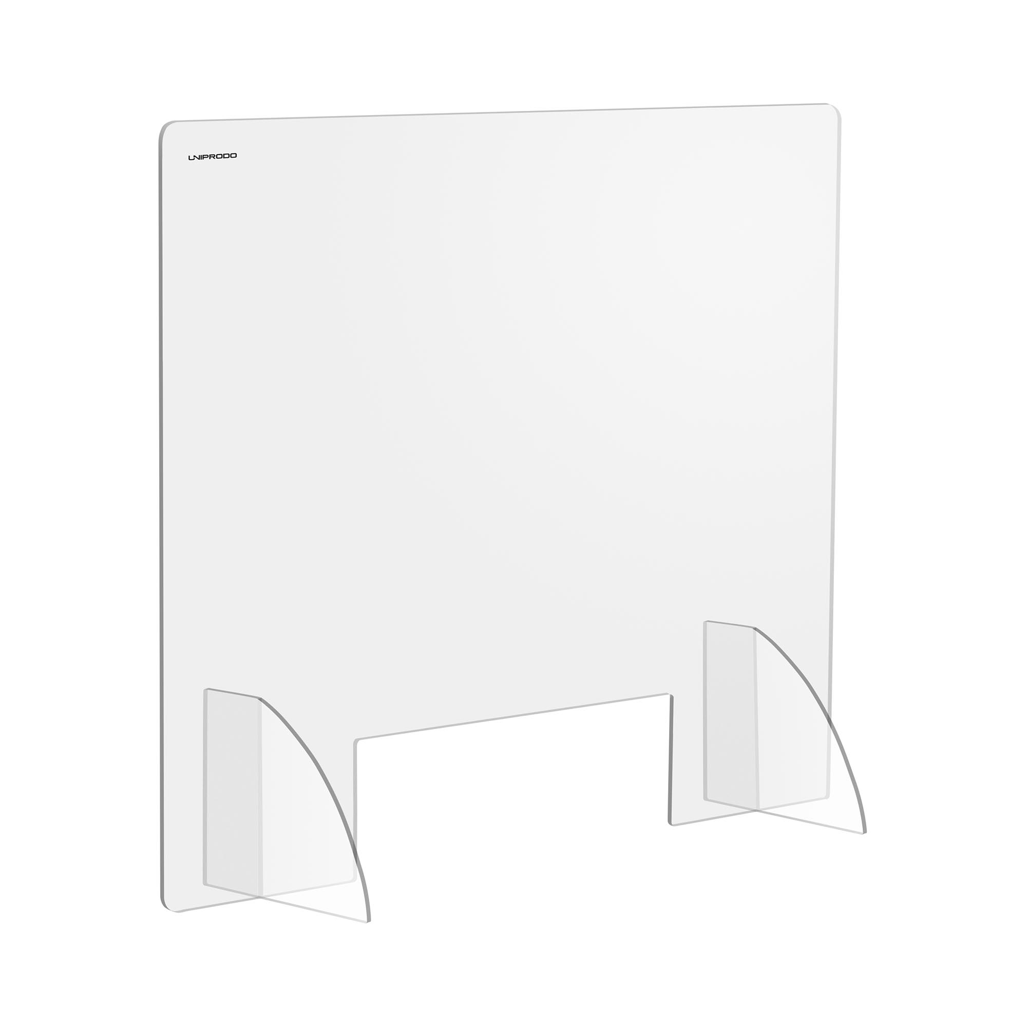 Uniprodo Spuckschutz - 95 x 80 cm - Acrylglas - Durchreiche 45 x 15 cm UNI-PPG02