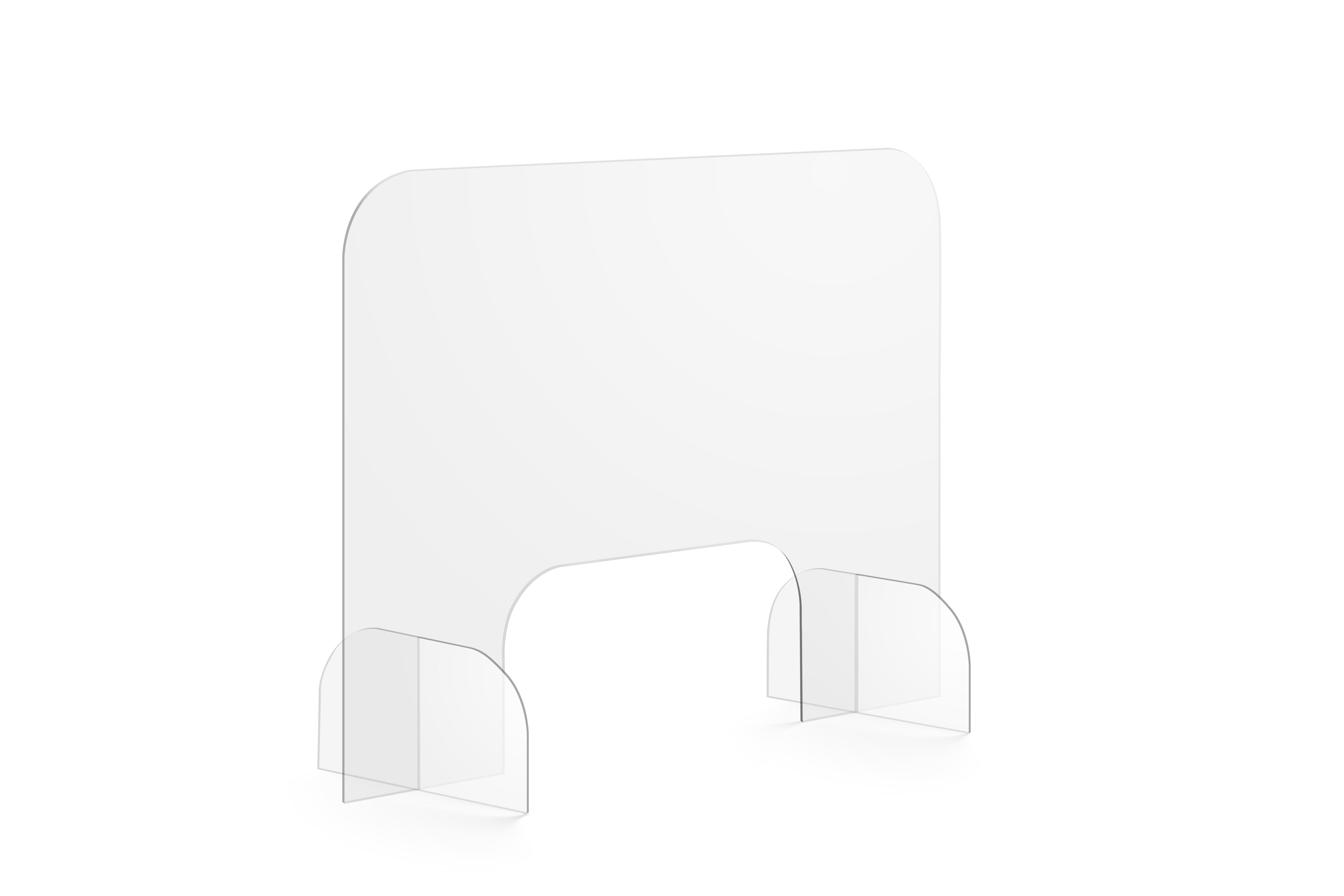 Uniprodo Spuckschutz - 80 x 60 cm - Acrylglas - Durchreiche 40 x 20 cm UNI-PGPL03