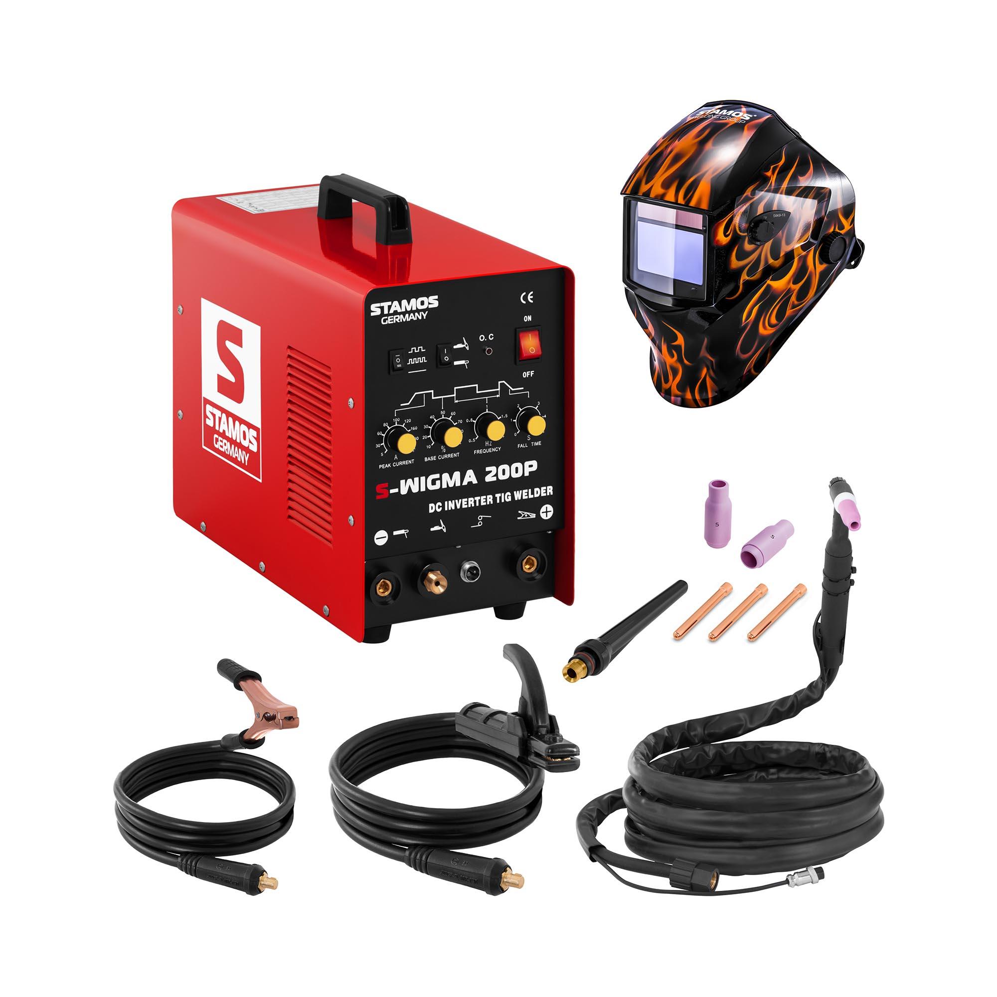 Stamos Basic Schweißset WIG Schweißgerät - 200 A - 230 V - Puls + Schweißhelm – Firestarter 500 18000122