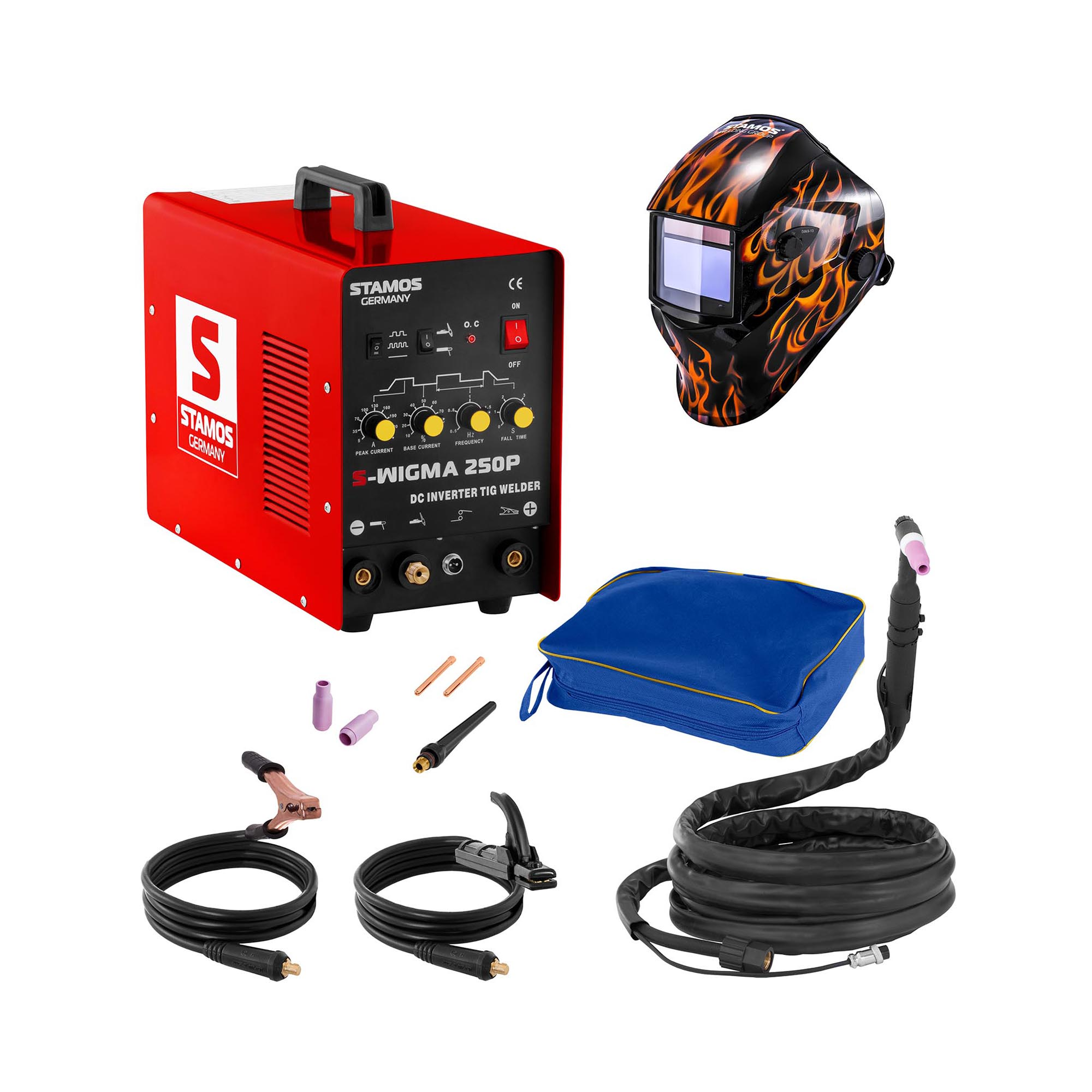Stamos Basic Schweißset WIG Schweißgerät - 250 A - 230 V - Puls + Schweißhelm – Firestarter 500 18000131