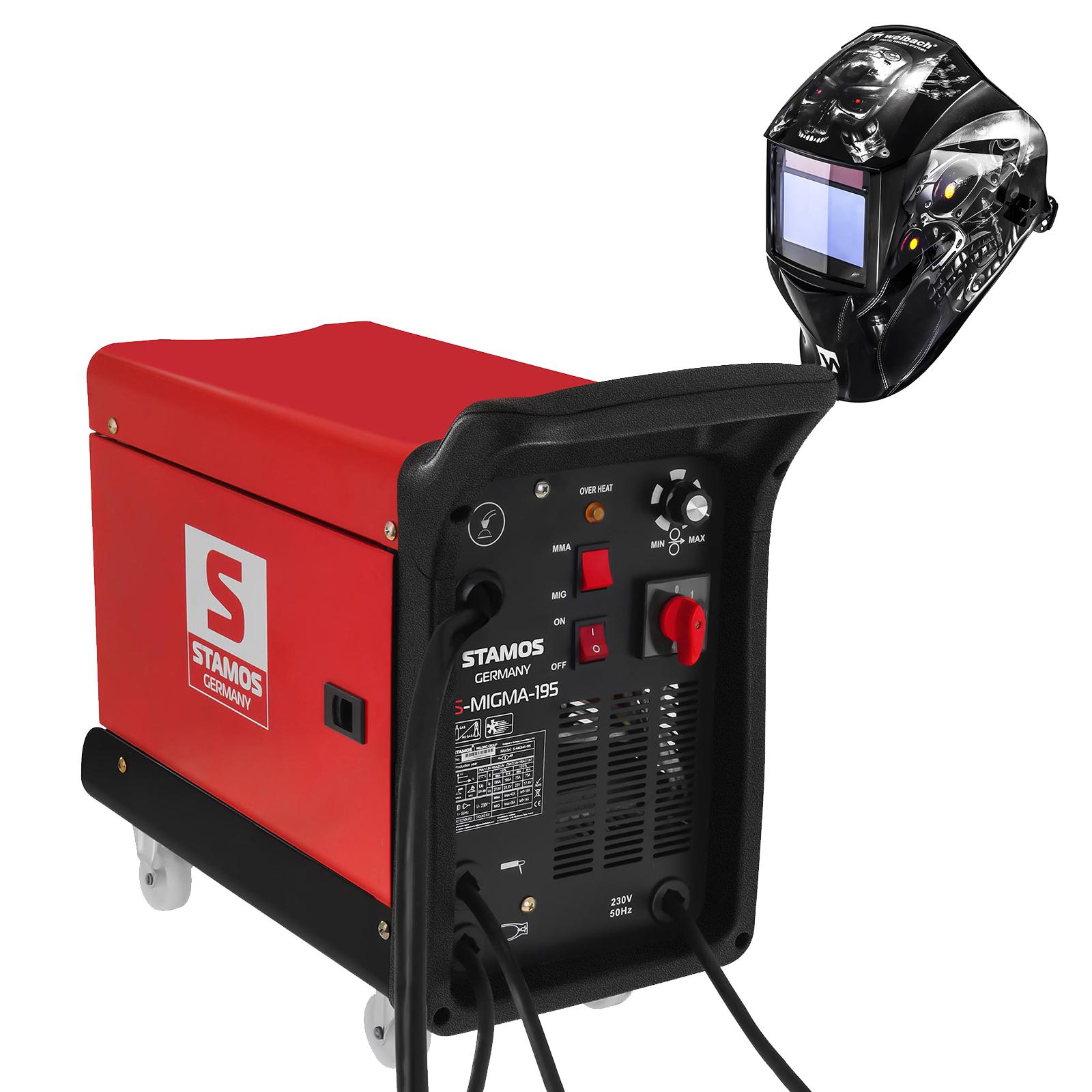 Stamos Germany Schweißset Kombi-Schweißgerät - 195 A - 230 V - tragbar + Schweißhelm – Metalator